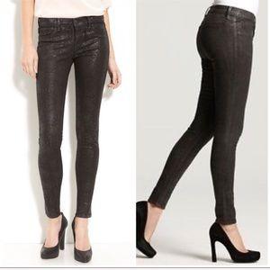 J BRAND Sz 26 Black Matte Boa Coated Skinny Jeans